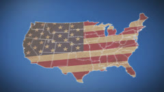Unites States of America Map with Old Glory national flag Stock Footage