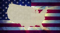 Unites States America map with national flag, old glory Stock Footage