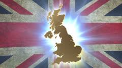 Map of United Kingdom with animated Union Jack on background Stock Footage