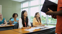 Young College Undergraduate Giving Class Presentation Stock Footage