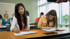 Classroom Teenage Students College Diploma Course - stock footage
