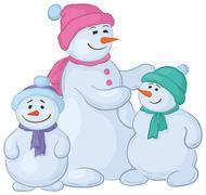 Snowmens mother and children Stock Illustration