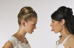 Stock Photo of Young brides standing face to face, portrait