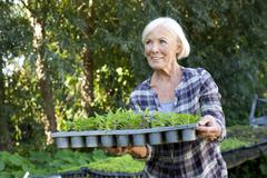 Germany, Saxony, Senior woman with potted plant at the farm - stock photo