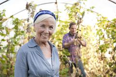 Germany, Saxony, Man and woman in the farm - stock photo