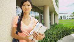 Portrait Female Ethnic Teenage College Student Stock Footage