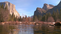 The Merced River flows through Yosemite National Park. - stock footage