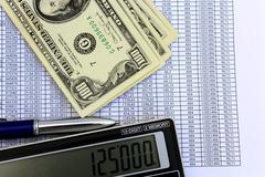 The table with numerals and american dollars Stock Photos