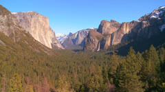 A dramatic overview shot from a viewpoint of Yosemite National park. Stock Footage
