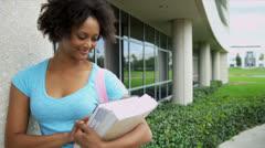 Portrait Female Ethnic Teenage College Student - stock footage
