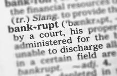 Macro image of dictionary definition of bankrupt Stock Photos