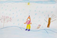 Children's drawing of skier Stock Photos