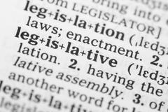 Stock Photo of macro image of dictionary definition of legislative