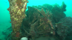 Engine and Propeller of Underwater Plane Wreck Stock Footage