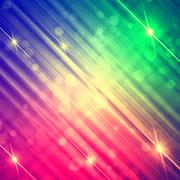 Abstract motley rainbow background with shining lines and stars Stock Illustration