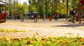 Playground in park, children play, run, have fun. Footage