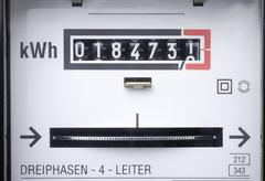 Germany, electricity meter, full frame, close-up - stock photo