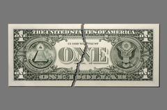 Torn US Dollar note, close-up Stock Photos