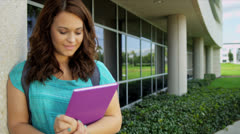 Caucasian Girl Outside Modern Campus Close Up Stock Footage