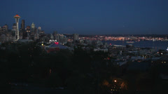 Downtown Seattle Twilight, Space Needle and Elliott Bay Stock Footage