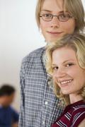 teenage couple, portrait - stock photo