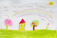 Children's drawing of houses and rainbow Stock Photos