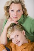 mother with daughter smiling, portrait, close-up - stock photo