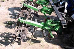 Equipment on a tractor for weed in agriculture Stock Photos