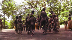 New Guinea natives do a traditional dance in the jungle. Stock Footage