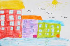 Children's drawing of houses and birds Stock Photos