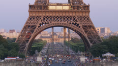 Eiffel Tower Base - Paris France Stock Footage