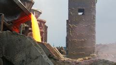 Stock Video Footage of Steel Industry molten metal.