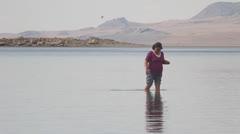 Walk in lake Stock Footage