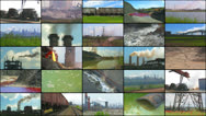 Stock Video Footage of Media Wall: Industry and Pollution.