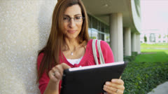 Caucasian University Tutor Wireless Tablet Close Up Stock Footage