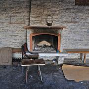 Dirty fireplace in abandoned interior Stock Photos