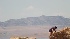 Woman hiking Stock Footage