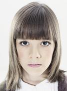 Portrait of girl (10-11), close up Stock Photos
