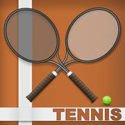 Clay court and rackets Stock Illustration
