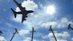 Airplane fly by sunny day blue sky. Aircraft passing by Stock Footage