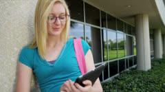 Portrait Female Caucasian Teenage College Student Stock Footage