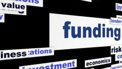 Funding business words message hd animation Stock Footage
