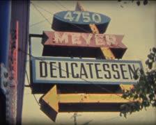 SUPER8 Meyer delicatessen 1950's neon sign Stock Footage