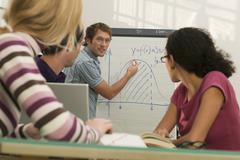 Young man giving presentation to colleagues Stock Photos