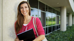 Caucasian Female Teacher Outside Modern Campus Close Up Stock Footage