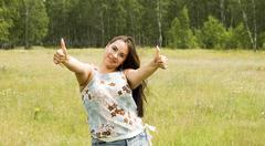 gesticulation woman - stock photo