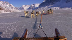 POV from a dogsled heading across the Arctic tundra. - stock footage