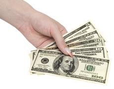 money in woman hand - stock photo