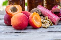 homemade apricot rhubarb walnu conserve - stock photo
