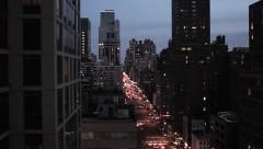 City at night. nyc new york. skyline skyscrapers. aerial view. 1080 Stock Footage